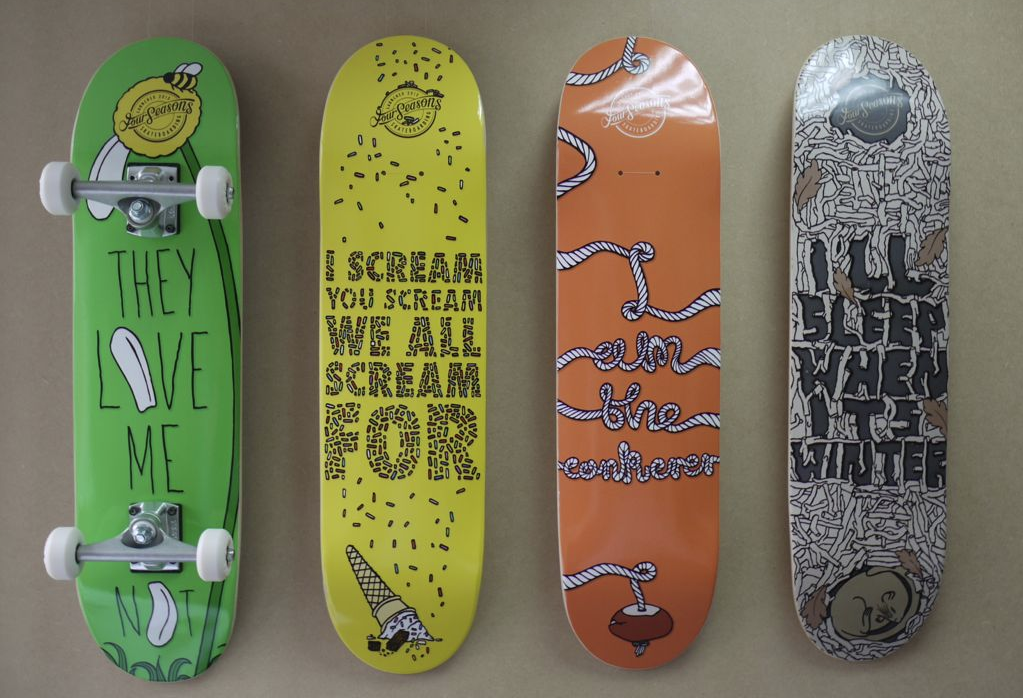 James Sales' skateboard designs for his 'Four Seasons' range.