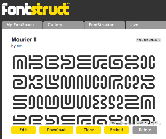 Typeface preview within Fontstruct