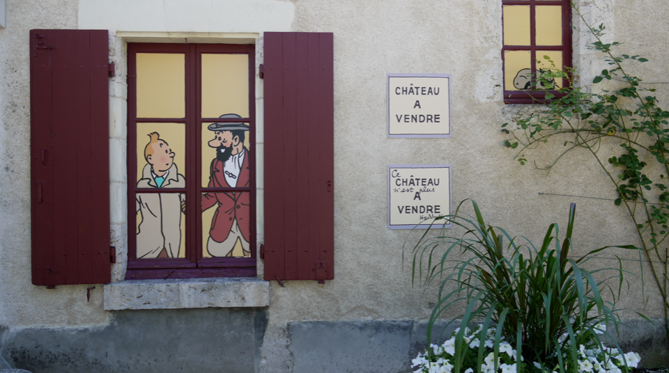 The entrance to the Tintin exhibition at the Château de Cheverny