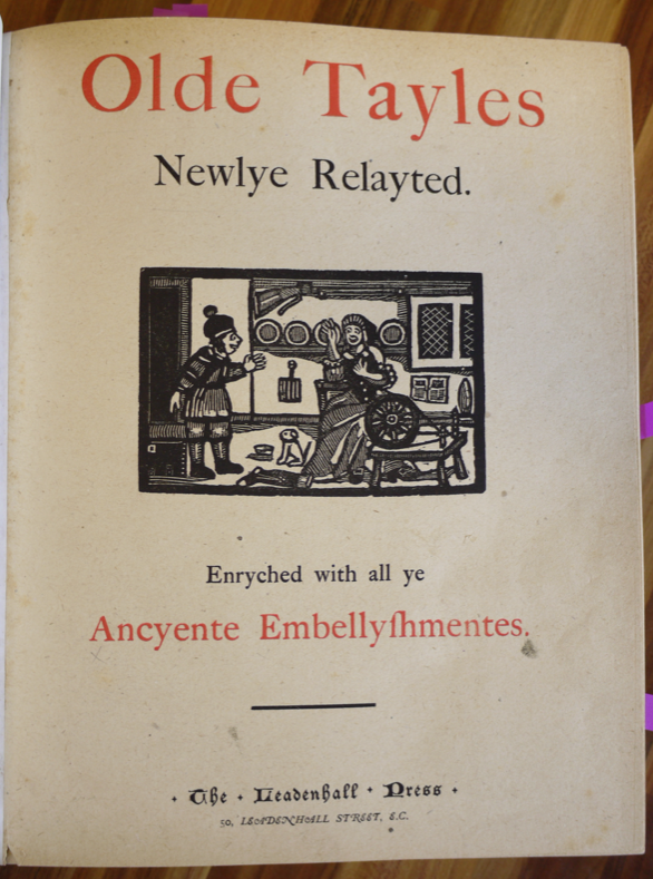 Title page for Olde Tayles Newlye Relayed